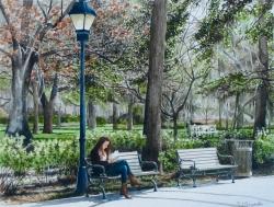 Reading in Forsyth Park Savannah GA